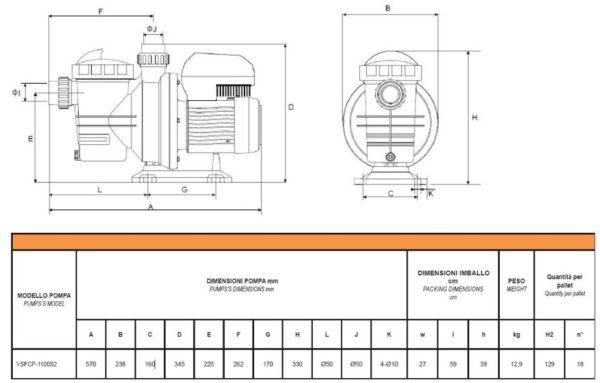 Elettropompa per Piscina GLONG VSFCP-1100S2 - Hp1,5 kW 1,1-4640